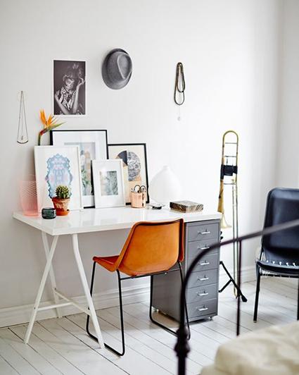 white and orange home office decor