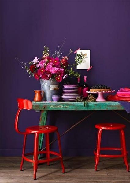 bright color mixes with purple interior design trend 2018