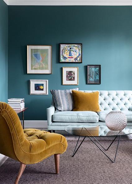bright color mixes with purple interior design trend 2018_
